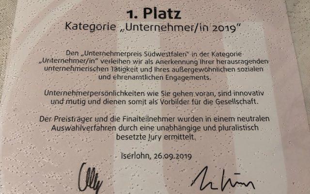 1. Platz Unternehmerpreis Südwestfalen